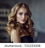 brunette girl with long and... | Shutterstock . vector #721253338