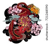 japanese old dragon tattoo... | Shutterstock .eps vector #721268590
