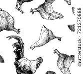 seamless pattern with hen and... | Shutterstock . vector #721270888