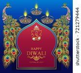 happy diwali festival card with ... | Shutterstock .eps vector #721279444