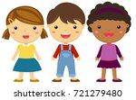 three happy kids standing | Shutterstock .eps vector #721279480