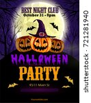 halloween party flyer with... | Shutterstock .eps vector #721281940