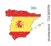 spain map hand drawn sketch.... | Shutterstock .eps vector #721283554
