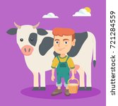 little caucasian farmer boy... | Shutterstock .eps vector #721284559