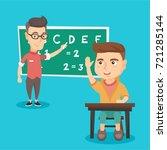 intelligent caucasian school... | Shutterstock .eps vector #721285144