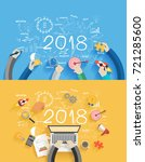 2018 new year business success... | Shutterstock .eps vector #721285600