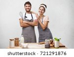 Delightful Family Couple Cook...