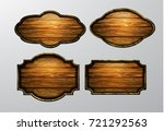 wooden signs  vector icon set | Shutterstock .eps vector #721292563