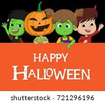 kid dress up halloween costume... | Shutterstock .eps vector #721296196