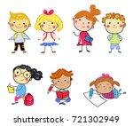 group of school kids | Shutterstock .eps vector #721302949