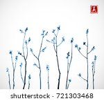 blue tree branches with fresh... | Shutterstock .eps vector #721303468