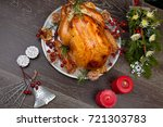 rustic style roasted christmas... | Shutterstock . vector #721303783