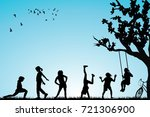 children silhouettes playing in ... | Shutterstock .eps vector #721306900