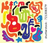 pattern with various musical...   Shutterstock .eps vector #721308379