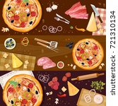 making pizza  fresh ingredients ... | Shutterstock .eps vector #721310134
