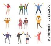 drunken people tall ratio... | Shutterstock .eps vector #721312600