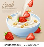 yogurt bowl with milk splash  ... | Shutterstock .eps vector #721319074