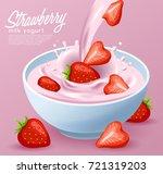yogurt bowl with milk splash  ... | Shutterstock .eps vector #721319203