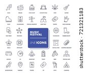 line icons set. music festival... | Shutterstock .eps vector #721321183