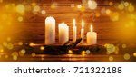 Christmas Candles On Wooden...