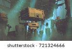 sci fi scenery of the man in... | Shutterstock . vector #721324666