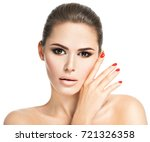 portrait of young woman with... | Shutterstock . vector #721326358