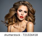 beautiful young woman with long ... | Shutterstock . vector #721326418