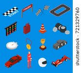 racing sport icon set isometric ... | Shutterstock .eps vector #721329760