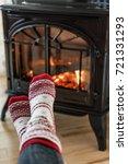 Fireplace Cozy Winter Woman...