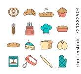 bakery icon set. vector... | Shutterstock .eps vector #721332904