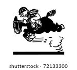 jockey on racehorse 2   retro... | Shutterstock .eps vector #72133300
