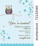 owl baby boy invitation card | Shutterstock .eps vector #72133360