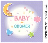 Stock vector baby shower card for new born design with cloud star moon heart and sleeping bear on purple polka 721333663