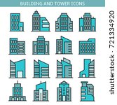 building and tower icons | Shutterstock .eps vector #721334920