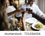 people clinging wine glasses... | Shutterstock . vector #721336426