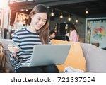 young beautiful asian woman...   Shutterstock . vector #721337554