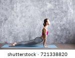 fitness woman training yoga in... | Shutterstock . vector #721338820