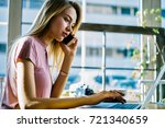 pensive blonde female... | Shutterstock . vector #721340659