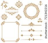 vintage vector set. floral... | Shutterstock .eps vector #721342216