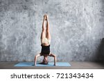 young woman practicing yoga... | Shutterstock . vector #721343434