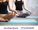 group people practicing yoga... | Shutterstock . vector #721343440