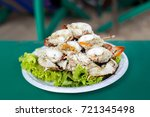 steamed egg crab  seafood ... | Shutterstock . vector #721345498