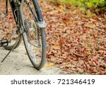 Front wheel of a bicycle with wilted leaves in the background