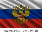 waving flag of russia on silk... | Shutterstock .eps vector #721349818