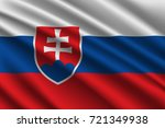 waving flag of slovakia on silk ... | Shutterstock .eps vector #721349938