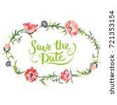 wildflower poppy flower wreath... | Shutterstock . vector #721353154