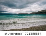 beautiful waves at the beach | Shutterstock . vector #721355854