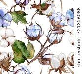 wildflower cotton flower... | Shutterstock . vector #721356088