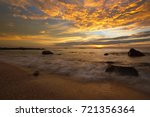 beautiful sunset with dramatic... | Shutterstock . vector #721356364