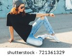 model wearing plain black t... | Shutterstock . vector #721361329